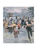 Skating Dutch Waiter Giclee Print by Alfredo Ortelli