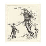 Tree Talks to Scarecrow Giclee Print by Arthur Rackham
