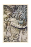 Alice and the Caterpillar Giclée-tryk af Arthur Rackham