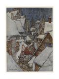 Santa and Sleigh, Rooftops Gicléetryck av Arthur Rackham