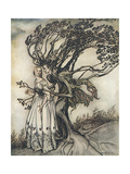 Old Woman in the Wood Premium Giclee Print by Arthur Rackham