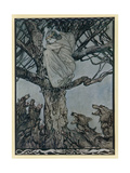 Lady Treed by Wolves Giclee Print by Arthur Rackham