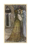 Romeo and Juliet in Embrace at Frair Lawrence's Cell Giclee Print by Arthur Rackham