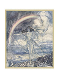 Iris Makes Rainbow Premium Giclee Print by Arthur Rackham