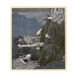Alberich and Hagen Giclee Print by Arthur Rackham