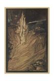 Wotan Encircles Rock Gicléetryck av Arthur Rackham