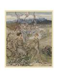 Iollan and Tuirenfionn Giclee Print by Arthur Rackham