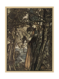Brunnhilde and Horse Giclee Print by Arthur Rackham