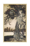 Peter Pan and Solomon Caw Giclee Print by Arthur Rackham