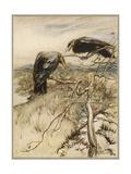 Ballad, Twa Corbies Giclee Print by Arthur Rackham