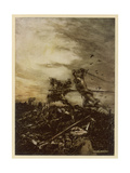 Arthur Versus Mordred Giclee Print by Arthur Rackham