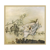 Two Flying Giclee Print by Arthur Rackham