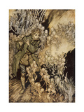 Man Playing Flute to Gnomes Giclee Print by Arthur Rackham