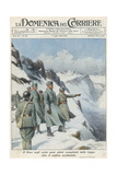 Mussolini in the Alps Giclee Print by Achille Beltrame