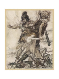 Fasolt and Fafner Gicléetryck av Arthur Rackham