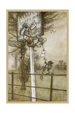 Elves Change Sign Giclee Print by Arthur Rackham