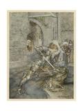 Lancelot Kills Dragon Giclee Print by Arthur Rackham