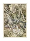 S, Speare: Hermia and Helen Premium Giclee Print by Arthur Rackham