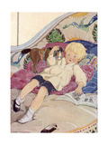 A Boy Lying on a Bed with a Book and a Toy Horse Giclee Print by Anne Anderson