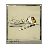 Forager the Puppy Sniffs at the Irish Stew Giclee Print by Cecil Aldin