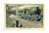 The Express Train Passing a Signal-Box Giclee Print by Charles Robinson