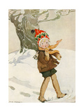 A Boy Walks Through the Snow Carrying Ice Skates Giclee Print by Anne Anderson