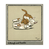 Rufus the Cat Attacks Rags the Puppy Giclee Print by Cecil Aldin