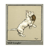 Rags the Puppy Catches a Rat Giclee Print by Cecil Aldin