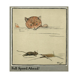 Rufus the Cat Watches a Mouse Giclee Print by Cecil Aldin