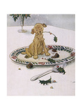 Puppy and Xmas Pudding Giclee Print by Anne Anderson
