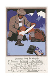Climber Uses First Aid Giclee Print by Carl Kunst