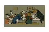 Hungry Peter the Pig's Dinner Party Impression giclée par Cecil Aldin
