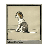 Forager the Puppy Sits by the Empty Plate Giclee Print by Cecil Aldin