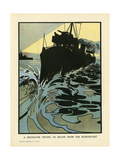 Destroyer at Speed Giclee Print by Charles Robinson