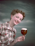Cheers, Girl with Beer Photographic Print by Charles Woof