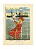 Waving at Steamer Giclee Print by Charles Robinson