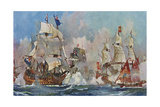 Naval Battle 1704 Giclee Print by Charles Dixon