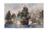 Naval Battle 1782 Giclee Print by Charles Dixon