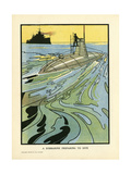 Submarine on Surface Giclee Print by Charles Robinson