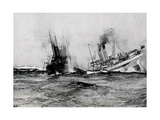 WW1 - British Hospital Ship Anglia Sinks, November 17th 1915 Giclee Print by Charles Dixon