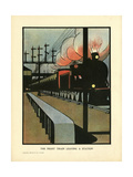 The Night Train Leaving a Station Giclee Print by Charles Robinson