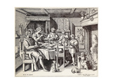 German Family at Table Premium Giclee Print by Crispin De Passe