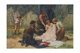 Pedlar Sells Cloth, 1880 Giclee Print by Fred Morgan