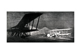 WW1 - a Scene at Night on a British Airfield Giclee Print by Donald Maxwell