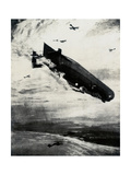 WW1 - Commodore Bigsworth Drops Bombs on Zeppelin, 1915 Giclee Print by Donald Maxwell