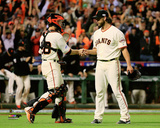 Buster Posey & Madison Bumgarner Game 5 of the 2014 World Series Action Photo