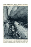 Queen Mary Ocean Liner, Final Preparations for Launch Giclee Print by Frank H. Mason