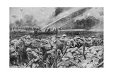 British Troops Repelling a German Liquid Fire Attack, WW1 Giclee Print by Frank Dadd