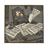Reading the Papers Giclee Print by Erich Schilling
