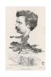 Mark Twain, Riding Frog Giclée-tryk af F. Waddy